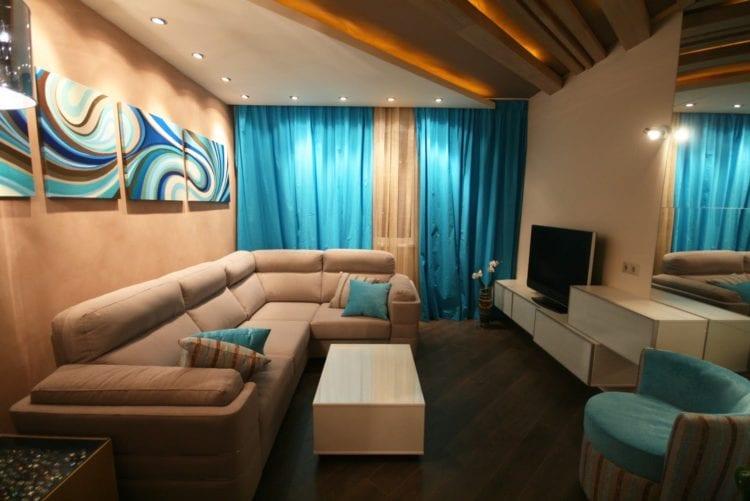 Цветовая гамма гостиной и зала 18 кв.м.