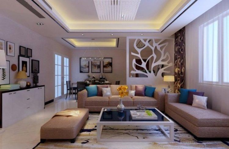Зонирование с помощью натяжных потолков в гостиной