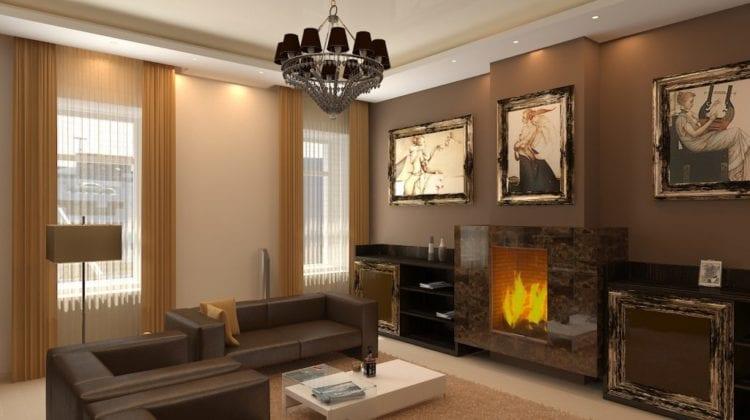 Кофейный цвет в интерьере гостиной