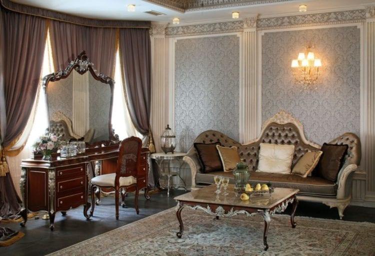 Фото коричневых штор в интерьере гостиной