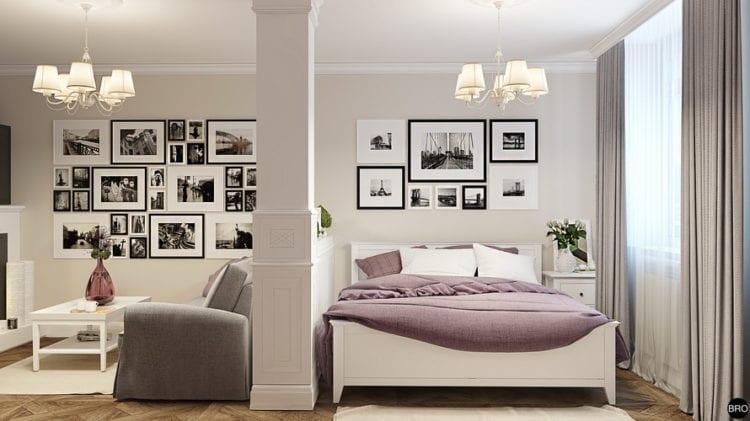 Зонированная гостиная со спальней