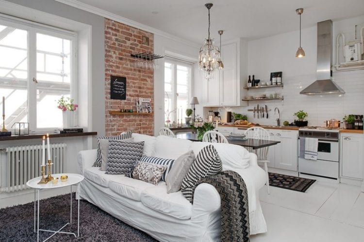 Дизайн интерьера кухни-гостиной в скандинавском стиле