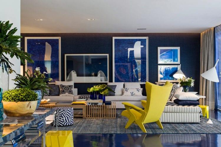 Желто голубой цвет в интерьере