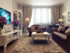 Бежевые шторы в интерьере гостиной – элегантное украшение окон для любого стиля
