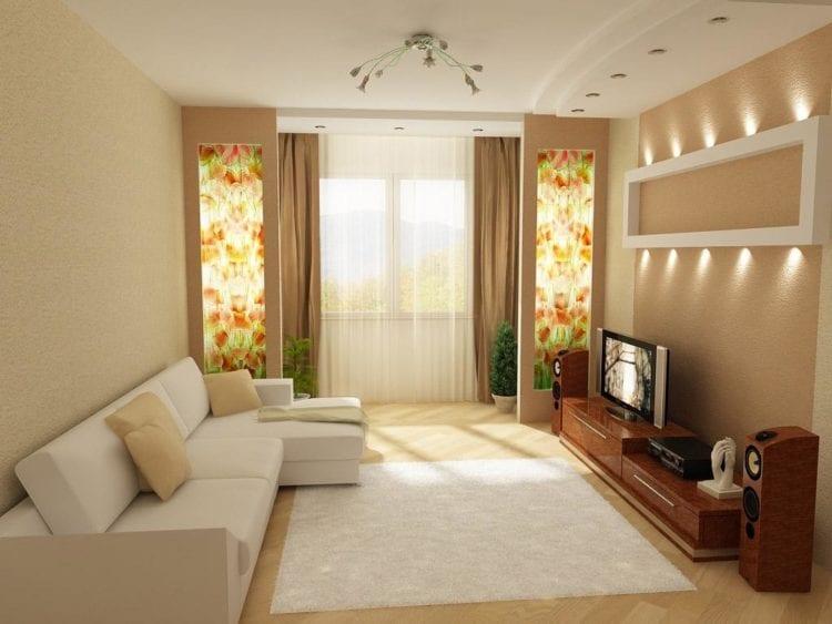 Ремонт зала в обычной квартире фото: дизайн интерьера гостиной