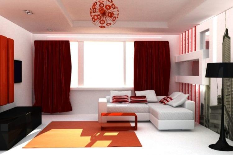 Красно-белая гостиная на 18 квадратов