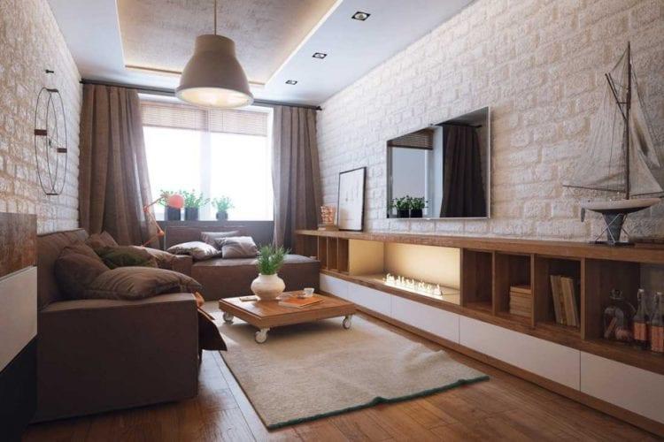 Интерьер спальни-гостиной 18 кв.м