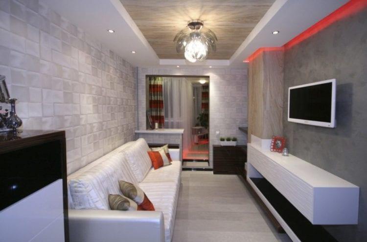 Интерьер с угловым диваном в стиле минимализм