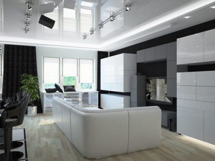 Натяжные потолки в гостиной в стиле хай-тек