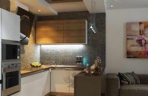 Кухня-гостиная площадью 15 кв. м – полнофункциональный лаконичный интерьер