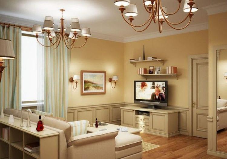 Классический дизайн гостиной в 18 кв. м.