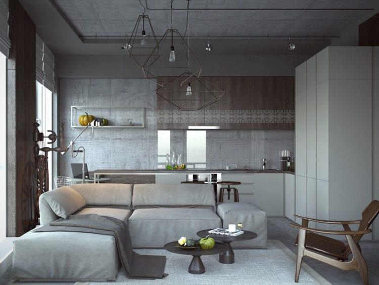 Кухня студия в современном лофт стиле