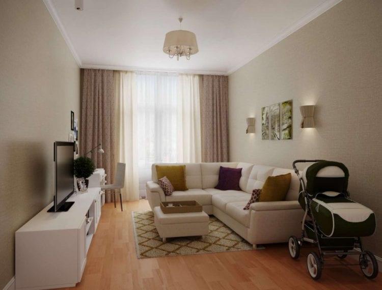 Интерьер зала 18 кв. м в квартире, бюджетный вариант в современном стиле
