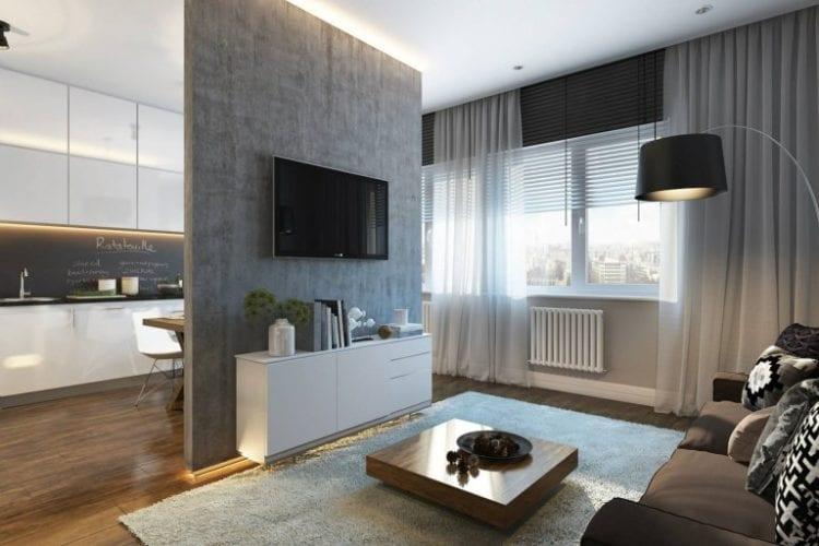 Кухня-гостиная в 30 кв. м, дизайн которой выполнен в современном функциональном стиле