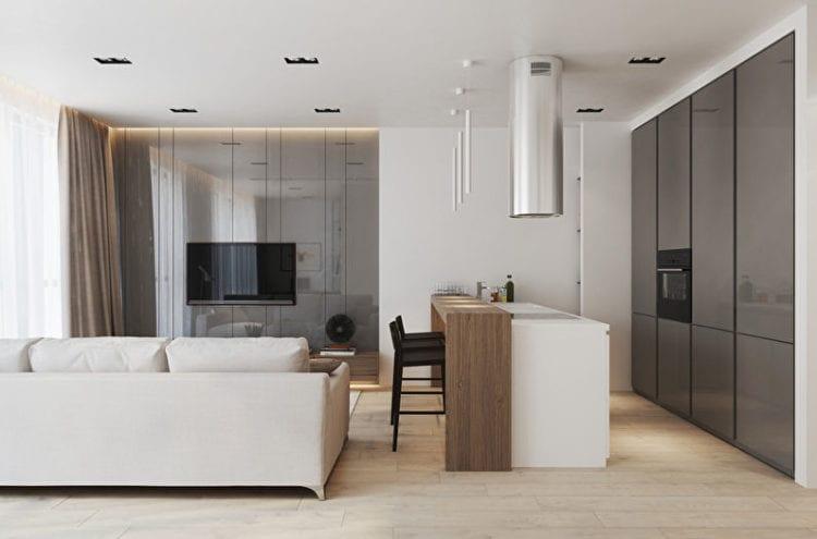 Интерьер и планировка кухни-гостиной в студии площадью 30 кв. м в стиле хай-тек