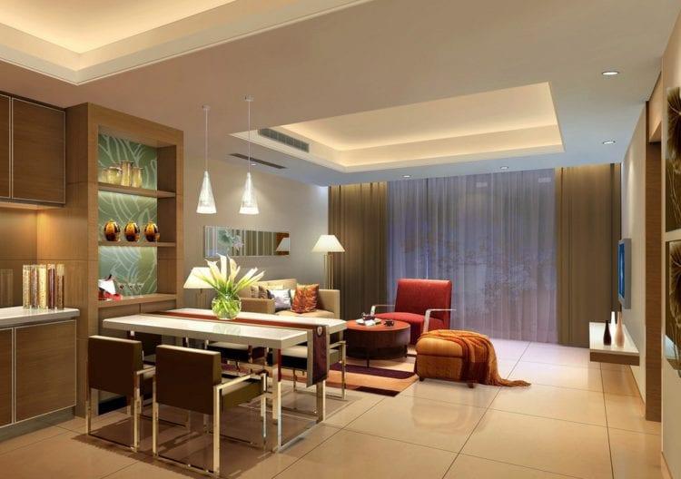 Двухуровневые натяжные потолки для кухни-гостиной