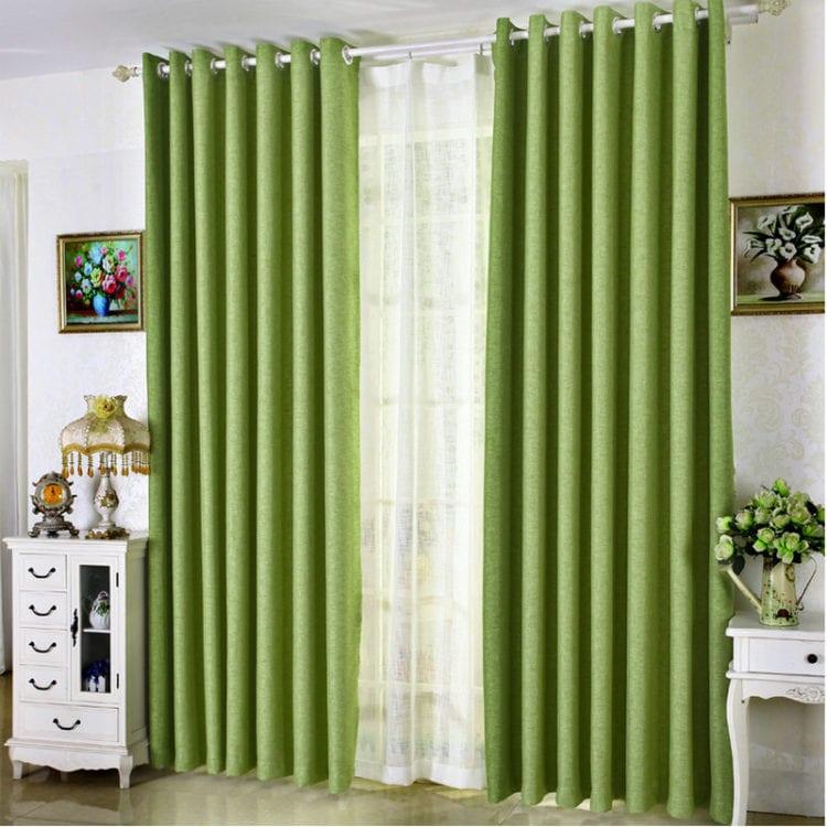 Льняные зеленые шторы
