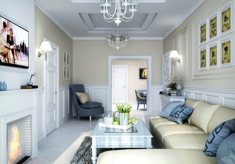 Интерьер проходной гостиной
