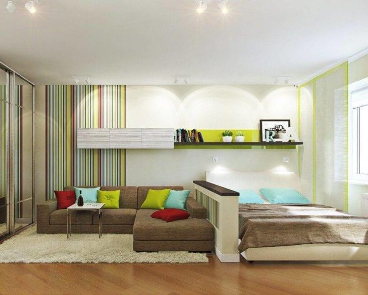 Дизайн спальни и гостиной на 15 кв. м.