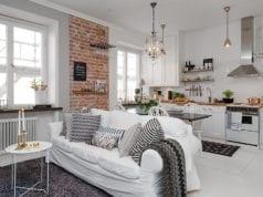 Дизайн кухни-гостиной в скандинавском стиле – солнечный интерьер для пасмурного климата