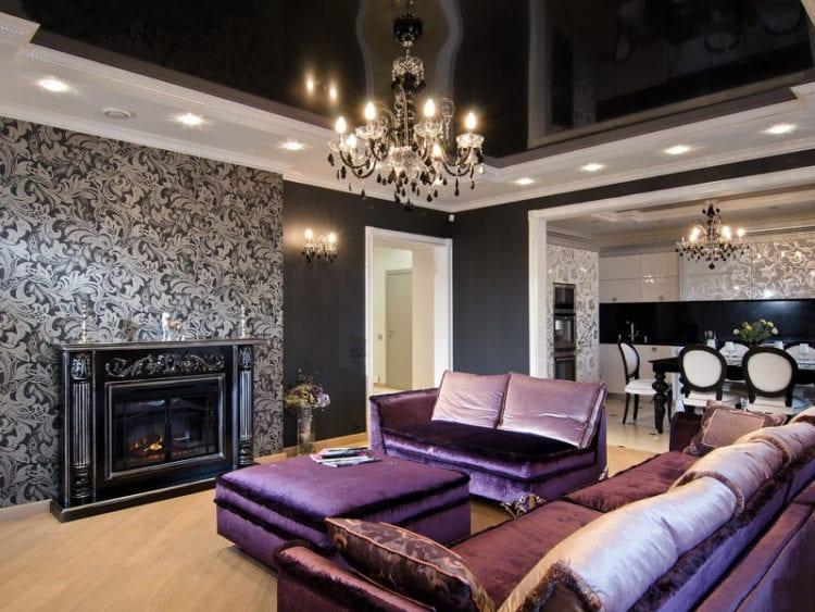 Натяжные потолки в гостиной в стиле арт-деко