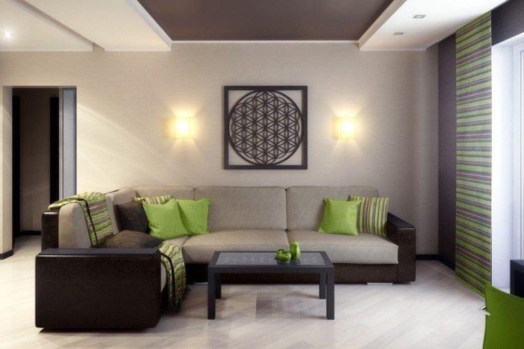 Коричнево-зеленая гостиная