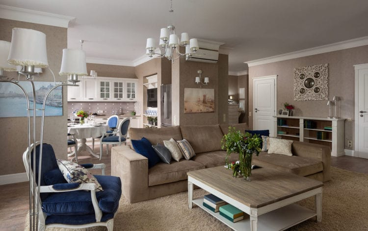 Гостиная в стиле прованс в квартире