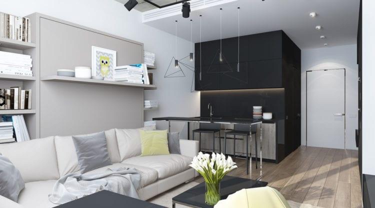 Интерьер кухни-гостиной 30 кв.м