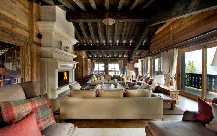 Дизайн гостиной в стиле шале