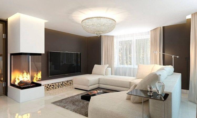 Современный стиль оформления гостиной с биокамина и телевизором