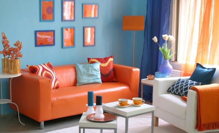 Сочетание с оранжевым цветом