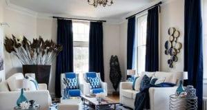 Синие шторы в гостиной – 10 секретов удачного использования