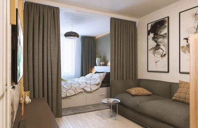 Гостиная спальня зонирование шторам