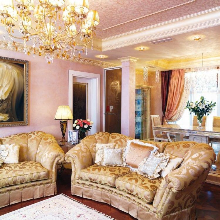 Интерьер гостиной в золотом цвете