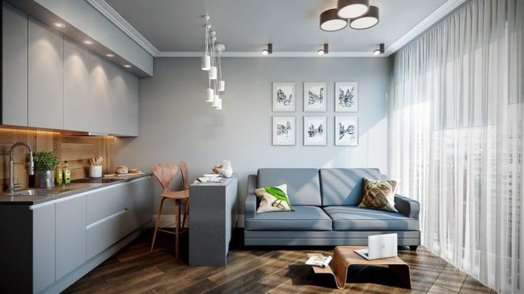 Зонирование в дизайне кухни-гостиной на 15 кв. м, выполненное легким ненавязчивым способом