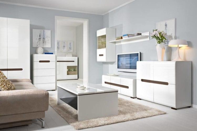 Белая глянцевая мебель для гостиной