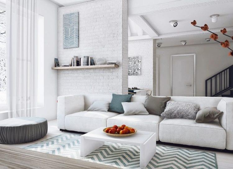 Белая гостиная в стиле лофт
