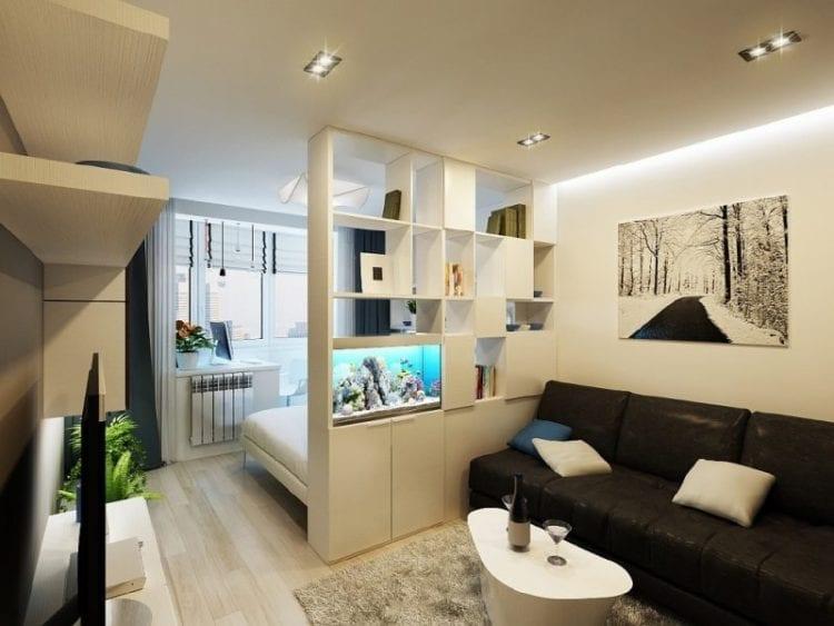 Дизайн гостиной-спальни в 18 кв. м в современном стиле