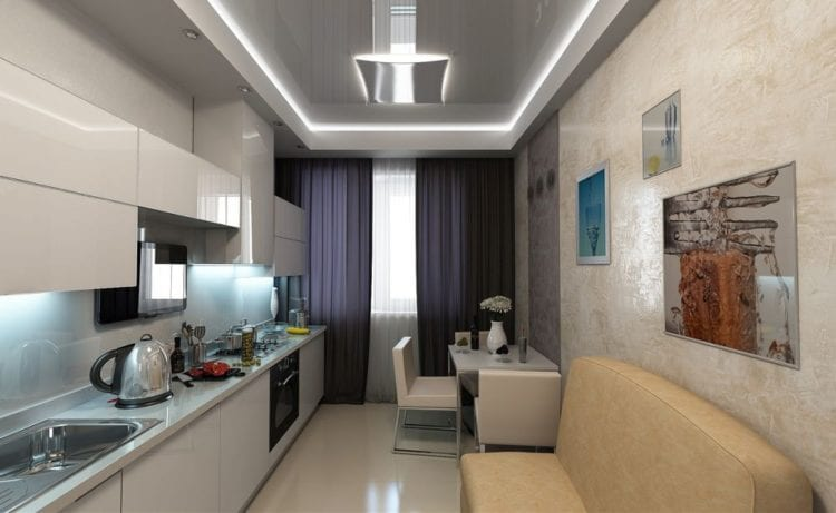 Кухня-гостиная 12 кв. м. Хай-тек