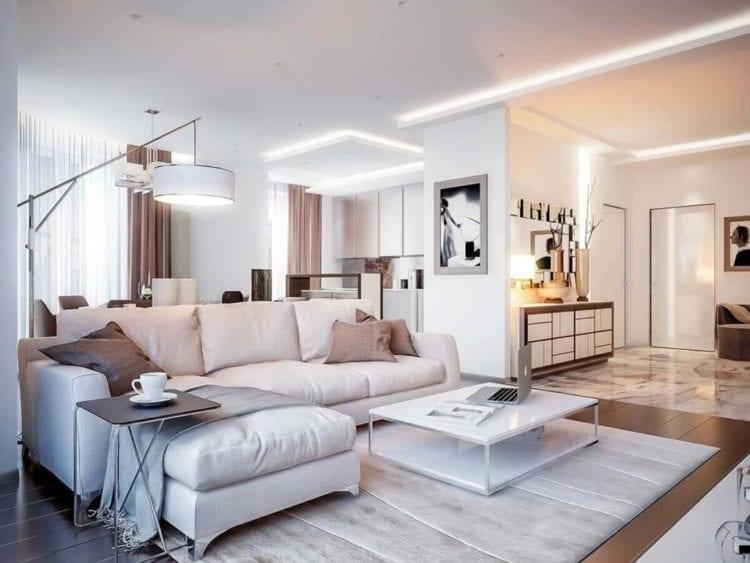 Белая гостиная в стиле Контемпорари