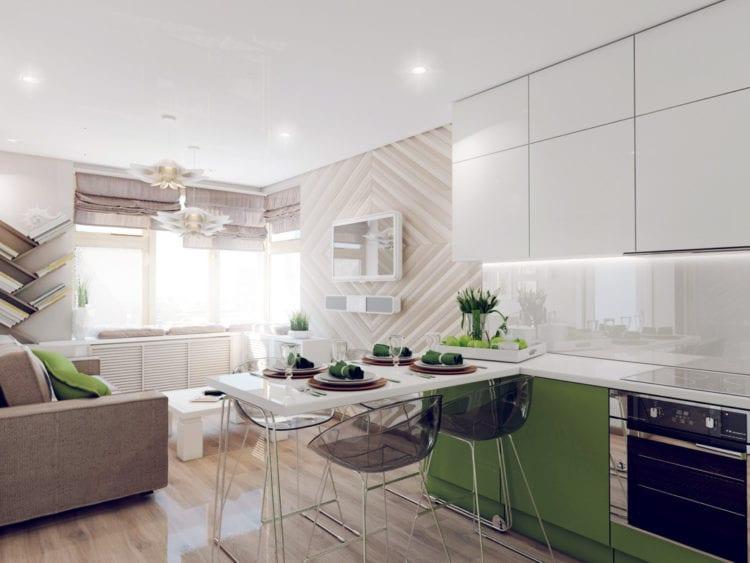 Зонирование кухни и гостиной 15 кв.м