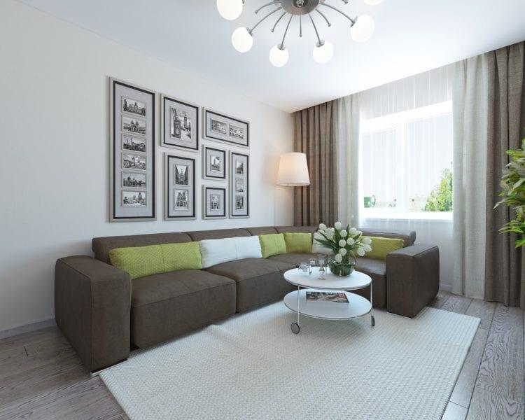 Дизайн гостиной комнаты в 17 кв. м в панельном доме
