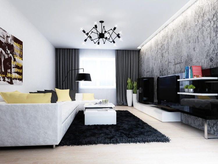 Дизайн зала в черно-белых тонах в хрущевке