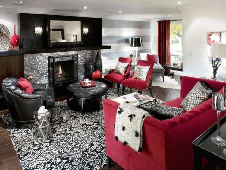 Красно черная гостиная