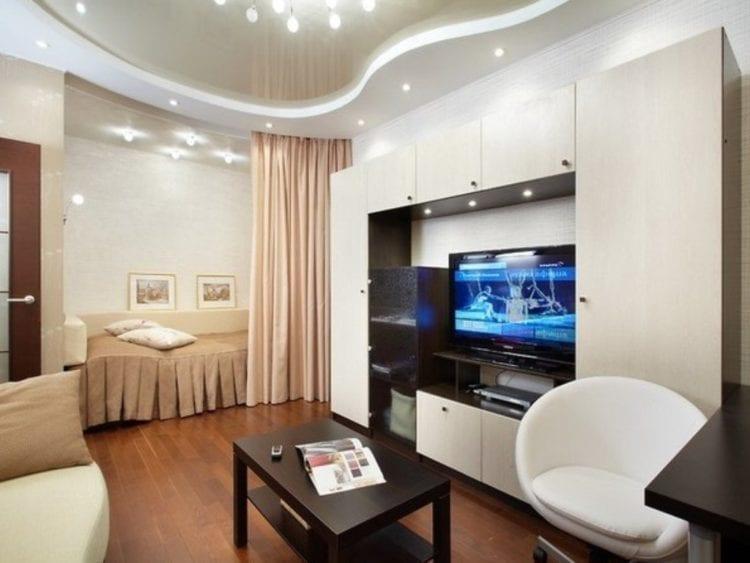 Дизайн интерьера совмещенной гостиной со спальней площадью 20 кв. м
