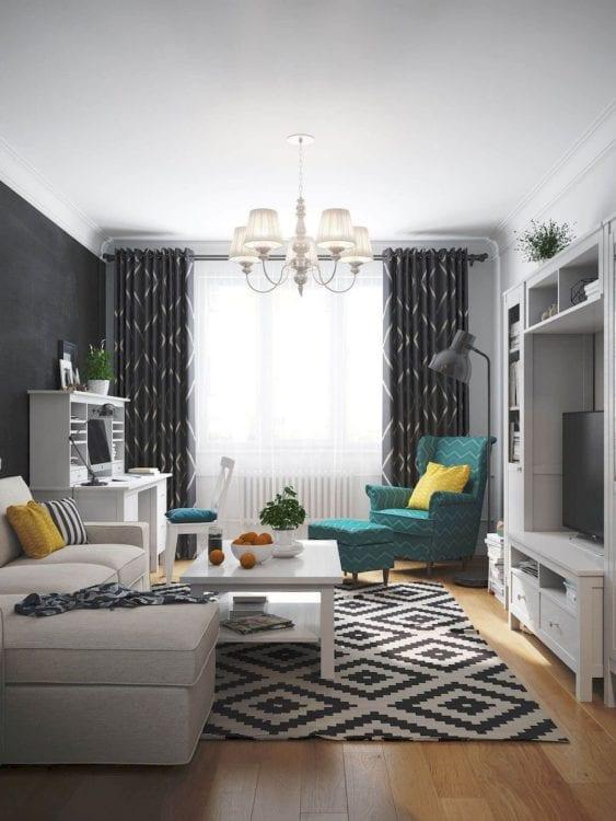 Дизайн в квартире с залом 14 кв. м в скандинавском стиле