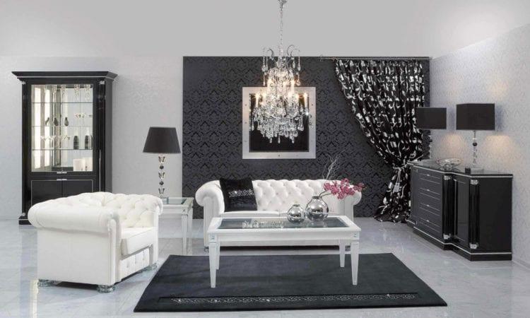 Гостиная с темными обоями и белой мебелью