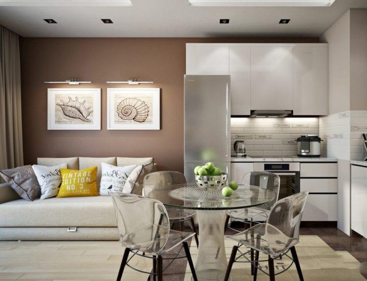 Оформление дизайна интерьера кухонь-гостиных 14 кв. м с диваном