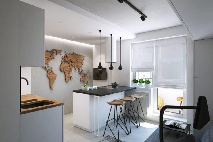 Дизайн кухни-гостиной в 14 кв. м с барной стойкой, используемой в качестве инструмента зонирования