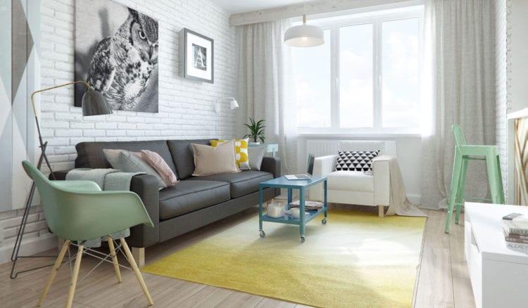 Диваны в скандинавском стиле в интерьере гостиной